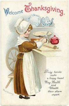Vintage printable - Thanksgiving. Benvenuti ringraziamento. Mani occupate fanno un cuore felice e  condividono la ricchezza della loro conoscenza.