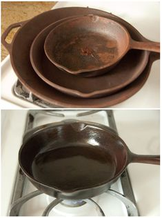 Cleaning a set of cast iron that was given to me VERY RUSTY~ done the potato thing,ended up using some balled up tinfoil to scrub the pans thought this worked better little oil and salt LOTS Of elbow grease.covered in oil and put the pan upside down on baking pan 350' oven for an hour.Smell was pretty awful.the pans turned out nice.