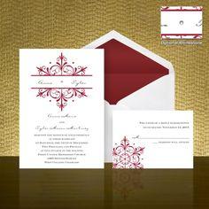 Spectacular Snowflake Wedding Invitation - Barn Red   Bed Bath & Beyond Wedding Invitations & Accessories