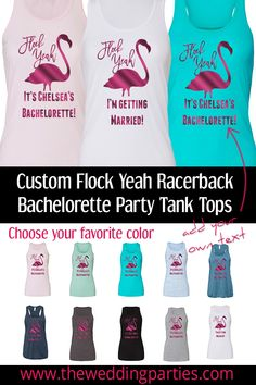 Flock Yeah your best friend is getting married and you are getting these tank tops to celebrate. Outfit the whole bachelorette party in these fun hot pink metallic flamingo tank tops. Choose your tank top colors and add your own custom text below the flamingo up to two lines and 15 characters each line including spaces. #bachelorettepartyideas #tropical #bridetobe #bacheloretteparty #bridalparty