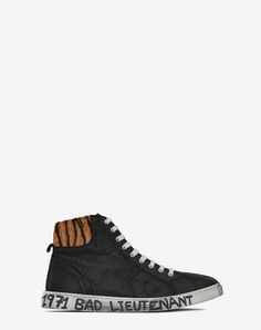 Medium-High Joe Sneakers In Black Leather And Tiger-Pattern Pony Hair