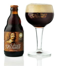 Adriaen Brouwer Dark Gold -- Nut brown beer, creamy beige head. Nose is caramel, dried fruits, malt, toasty notes. Flavor is fruity, malty-toasty notes, sugar, fruity tones and metallic hints, yeast in the background, some sweetness. Alcohol and dried fruit in the finish. Prickly carbonation. Simple, but balanced. I Like Beer, Dark Beer, Beers Of The World, Alcohol, Belgian Beer, Beer Brewery, Beer Brands, Beer Packaging, Beer Label