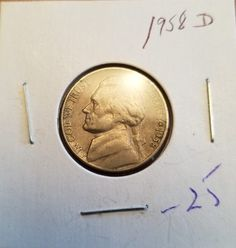 1958 US Nickel D in Circulated (CIRC) Condition - Shop securely at Cardinal Collectibles - satisfaction guaranteed or your money back Coins, Conditioner, Money, Personalized Items, Ebay, Coining, Rooms, Silver