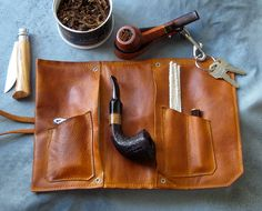 Leather Pipe & Tobacco Pouch Handmade in the U.S.A.. $75.00, via Etsy.