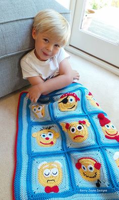CROCHET PATTERN Emoticons character blanket by KerryJayneDesigns