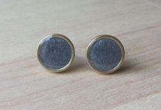 Silver Shimmer Round 9 mm studs Raw Brass Resin by ColorfulClay