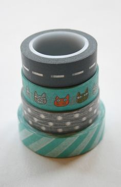 $14.20 - oh, man I love washi tape. Washi Tape Set - 15mm - Combination AB - Aqua and Grey - Four Rolls Washi Tape