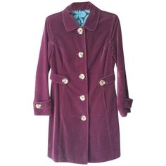Boden Pre-owned Boden Stunning Cotton-velvet English Trench Trench... ($135) ❤ liked on Polyvore featuring outerwear, coats, wine, boden, purple trench coat, purple velvet coat, trench coat and cotton coat