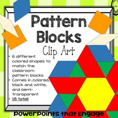 This Pattern Blocks Clipart pack of 18 has 6 different shapes that match the classroom blocks.  The colors and shapes included:  Yellow Hexagon, Red Trapezoid, Orange Square, Blue Rhombus, Off-white Thin Rhombus, and a Green Triangle.  There are solid colors, black and white, and semi-transparent.