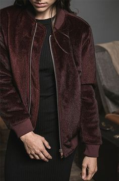 J.O.A. Burgundy Pony Hair Bomber, $105, available at J.O.A. #refinery29 http://www.refinery29.com/bomber-jacket-women#slide-16