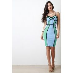 Color Blocked Spaghetti Strap Bodycon Dress ($68) ❤ liked on Polyvore featuring dresses, white body con dress, white bustier, body conscious dress, body con dress and white bustier dress