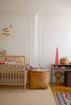 Loving the warm, earthy feel of this nursery...and khaki dot bedding!