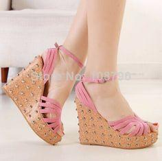 Hot 2014 Women Sandal high heels platform wedges female sandals fashion Flock Leather Women pumps shoes woman Black Pink Size 39 $29.98