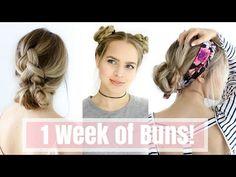 1 Week of Bun Hairstyles - Hair Tutorial! - YouTube
