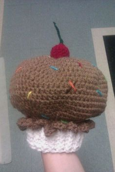 Crocheted cupcake with cherry on top hat! Pattern & hat created by me! customizable just for you! visit me at marchasnare.etsy.com!