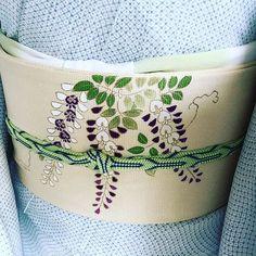 藤の帯、間に合った #きもの #着物 #kimono #きものコーディネート #本日の店主の帯周り #本日営業 #komamono玖 #komamono玖は東京南青山の和装小物セレクトショップです