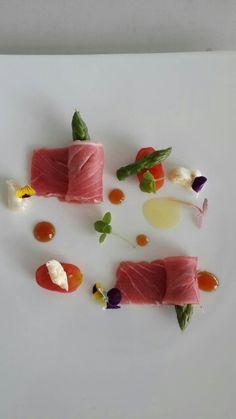 Tuna toro w/asparagus, compresed tomato ,shizo shiro n goat chesee