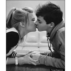 Kiss, teen, couple, holding-hand, love ❤ liked on Polyvore