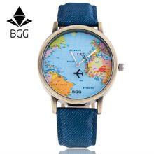 2016 Mapa Del Mundo Reloj Avión Relojes Mujeres Hombres Reloj de Cuarzo Relojes Mujer Relogio Feminino Regalo Tela de Mezclilla envío libre