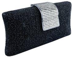 Glamorous Glitter Hard Case Evening Clutch Baguette Handbag Purse Rhinestone Closure w/Detachable Chain #handbag #amazon