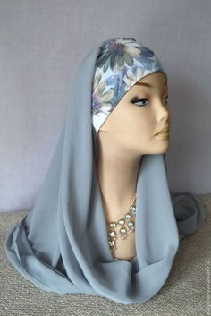 I like this general idea - maybe two scarves - one for wrap and one for cover? Probably better to buy fabric and make . Turban Hijab, Turban Headbands, Blazer Outfits Casual, Bridal Hijab, Turban Style, Hijab Tutorial, Islamic Clothing, Scarf Jewelry, Fashion Face Mask