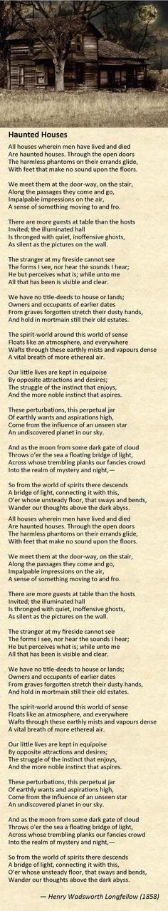"""""""Haunted Houses"""" by Henry Wadsworth Longfellow (1858)"""
