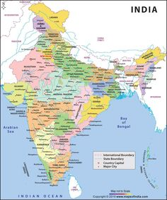 Buy India large color map, highlights states in different colors with country capital, major cities, state and international boundaries. India World Map, India Map, General Knowledge Book, Gernal Knowledge, World Geography Map, India Information, States And Capitals, India Facts, Country Maps