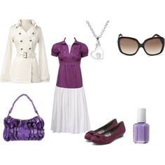 White and Purple by a-princess-of-the-risen-king on Polyvore featuring polyvore, moda, style, Charlotte Russe, ONLY, Farhi by Nicole Farhi, Susan Farber Collections, Coach, Versace and Essie