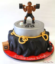 Workout Themed Birthday Cake by Pink Cake Box in Denville, NJ. More photos and… Birthday Cakes For Men, Themed Birthday Cakes, Themed Cakes, 30th Birthday, Bolo Crossfit, Rainbow Chip Frosting, Fitness Cake, Gym Cake, Pink Cake Box
