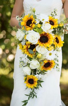 sunflower bridal bouquet cascading bouquet wedding bouquet bride bouquet ivory bouquet greenery bouquet made to order Sunflower Wedding Bouquet Trending 2020 - CowlesNCP ~ Make your Wedding Ideas Bouquet En Cascade, Cascading Wedding Bouquets, Fall Wedding Flowers, Bride Bouquets, Sunflower Wedding Flowers, Wedding Bouquets With Sunflowers, Fall Sunflower Weddings, Country Wedding Bouquets, Sunflowers And Roses