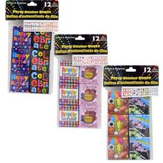 Party Stickers Fun Packs, 12-ct. Packs (Set of 3)
