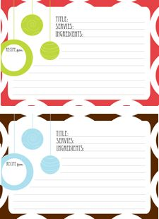 Free modern printable Christmas recipe cards