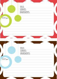 Free modern printable Christmas recipe cards