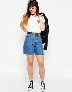 d7a1ab3c58d ASOS Ashley Longline Denim Shorts In Mighty Mid Wash Denim Shirt