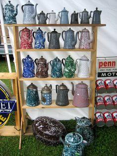 52 FLEA: August 2012.....enamelware coffee pot heaven!