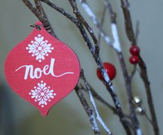 Red and White Noel Print Decor  Free Stock Photo
