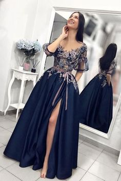 Unique dark blue lace long prom dress, blue evening dress, Shop plus-sized prom dresses for curvy figures and plus-size party dresses. Ball gowns for prom in plus sizes and short plus-sized prom dresses for Blue Evening Dresses, Prom Dresses Blue, Maxi Dresses, Long Dresses, Evening Gowns With Sleeves, Split Prom Dresses, Denim Dresses, Sleeve Dresses, Maternity Dresses