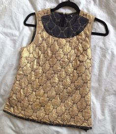 Prada S/S 2002 gold brocade top with reverse navy fabric neck detail