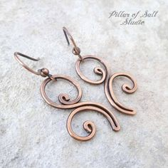 Solid copper earrings / Wire wrapped earrings / wire wrapped