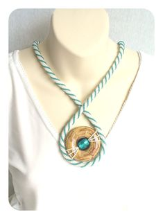 Statement Rope Necklace Spiral Bead Rope Seed by BeadworkAndCoe