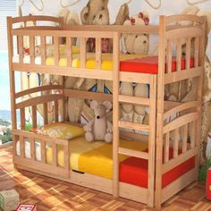 Kids Bed Maciej With Mattresses Bunk Storage Container Pine Wood New 230
