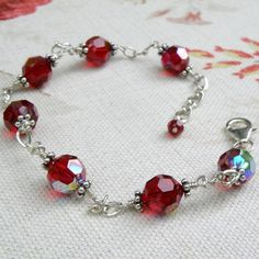Red Bracelet Crystal Sterling Silver Wedding by fineheart on Etsy