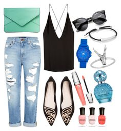 """""""Day outfit #1"""" by hannahelisee on Polyvore #clutch #rippedjeans #watch"""