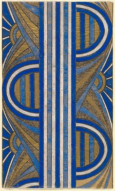 Anonymous, French, 20th century | Panel with a Pattern of Sunrises and a Central Blue and White Striped Band by Anonymous, French, 20th century
