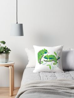 'Chameleon friends' Throw Pillow by SannaKallio It Is Finished, Throw Pillows, Bed, Room, Design, Bedroom, Toss Pillows, Cushions, Stream Bed