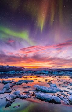 Aurora over Jokulsarlon, Iceland
