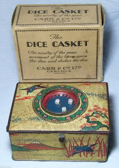 SUPERB RARE BOXED VINTAGE CARRS BISCUITS TIN DICE CASKET CASINO GAME ART DECO in  | eBay!