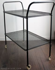 FRENCH 1950'S VINTAGE ATOMIC PERFORATED UNION JACK MESH METAL BLACK TEA TROLLEY / BAR CART WITH LUCITE CASTERS - SOLD