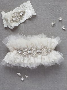 Tulle Lace Crystal Pearl