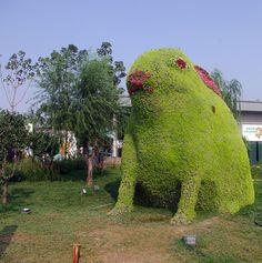 """A Rabbit made out of bushes at the Xi'an Horticultural Exposition"""